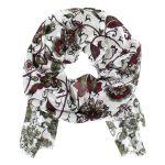 Damen Trachten-Schal weiß rot