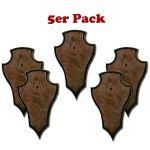 5 Gehörnbretter für Rehwild,Eiche dunkel, spitz
