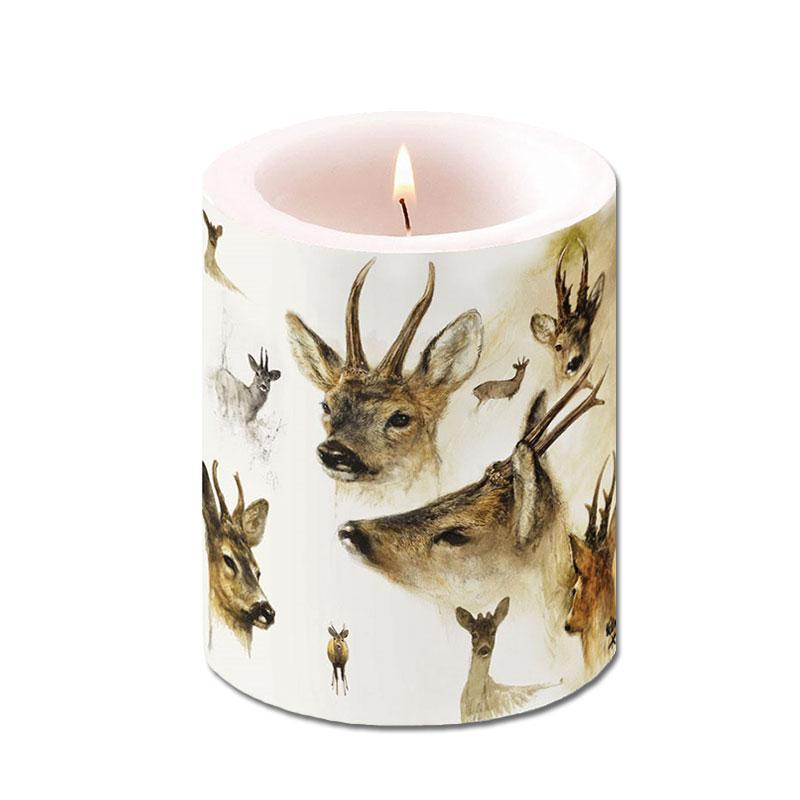 Kerze mit Rehbock-Motiv
